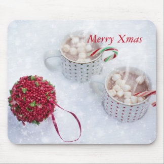 Merry Xmas - Chocolate on the snow Mouse Pad