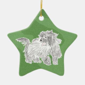 Merry Xmas Coton de Tulear Ceramic Ornament