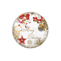 Merry Xmas Gold Red White Christmas Favor Candy Tin