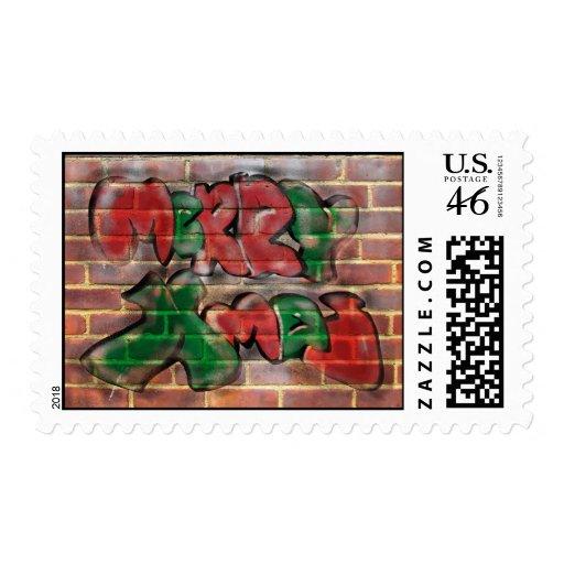 Merry Xmas Graffiti Postage