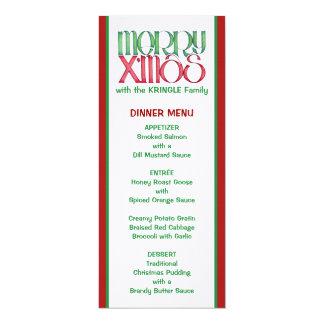 Merry X'mas green Christmas Dinner Menu Card