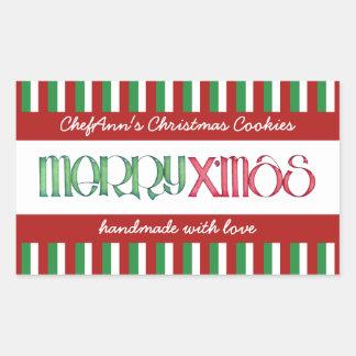 Merry X'mas green Kitchen Jar Rectangle Label