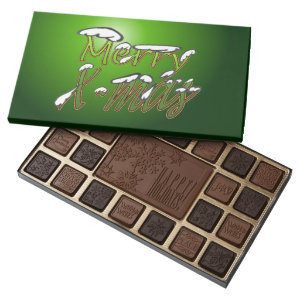 Merry Xmas Green Lettering Holiday Chocolates