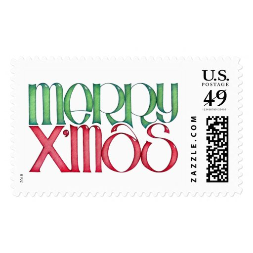Merry X'mas green Stamp