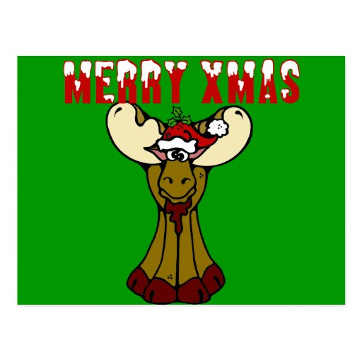 Merry Xmas Moose Postcard