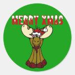 Merry Xmas Moose Sticker