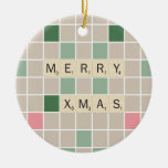 Merry Xmas Double-Sided Ceramic Round Christmas Ornament