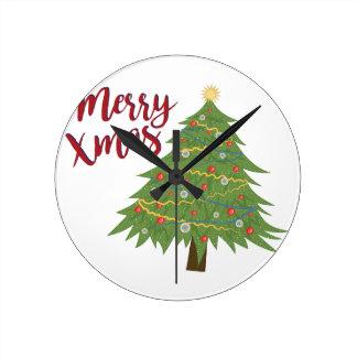 Merry Xmas Round Clock