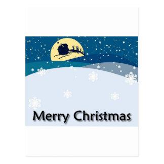 Merry Xmas Snowing Scene Postcard