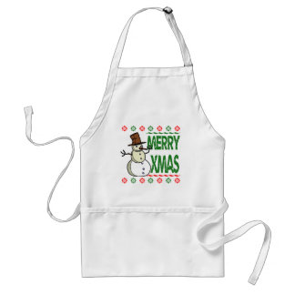 Merry Xmas Snowman Ugly Christmas Sweater Apron