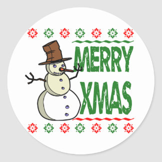 Merry Xmas Snowman Ugly Christmas Sweater Classic Round Sticker