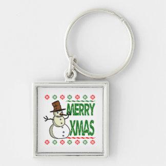 Merry Xmas Snowman Ugly Christmas Sweater Keychain