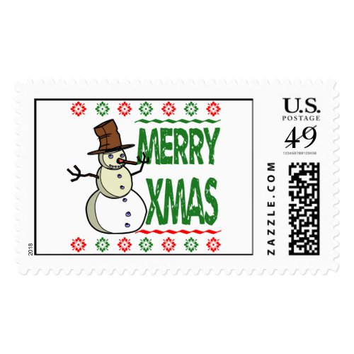 Merry Xmas Snowman Ugly Christmas Sweater Postage Stamp