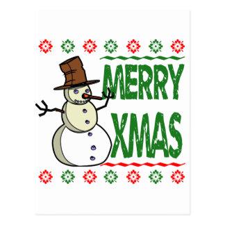 Merry Xmas Snowman Ugly Christmas Sweater Postcard