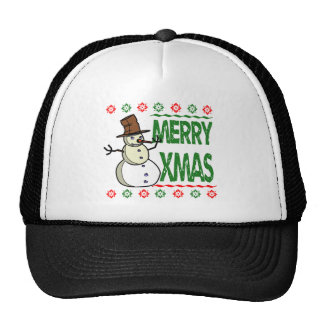 Merry Xmas Snowman Ugly Christmas Sweater Trucker Hat