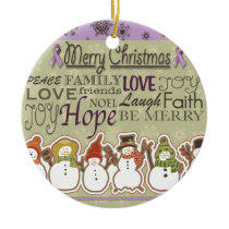 Merry XMAS snowmen Pancreatic Cancer Products Ceramic Ornament