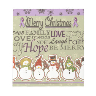 Merry XMAS snowmen Pancreatic Cancer Products Notepad