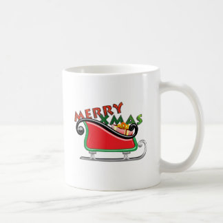 Merry & Xmas Text in Sleigh with Present Coffee Mug