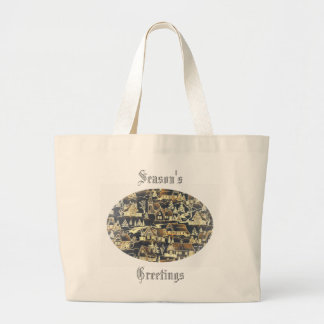 Merry Xmas Vintage Antique Holiday Gold Village Large Tote Bag