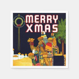 Merry Xmas Vintage Christmas Card Wise Men Party Paper Napkin