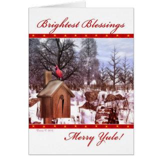 Merry Yule Blessings Winter Cardinal Blank Card