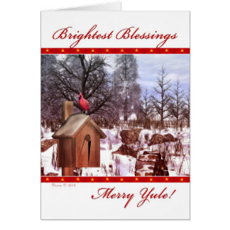 Merry Yule Blessings Winter Cardinal Card