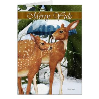 Merry Yule Doe and Fawn Deer Greeting Card