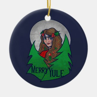 Merry Yule Goddess Art Pagan and Wiccan Yule Ceramic Ornament