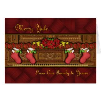 Merry Yule Stockings Blank Card