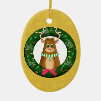 Merry Yule Toon Stag Wreath Oval Ornament