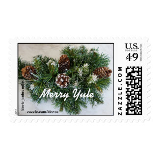 Merry Yule winter holiday postage stamp