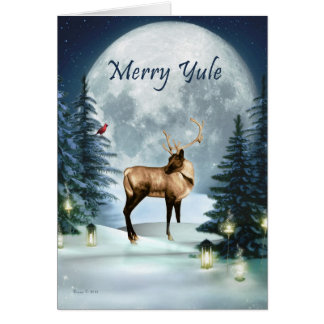 Merry Yule Winter Stag Blank Holiday Card