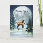"Merry Yule Winter Stag Holiday Card<br><div class=""desc"">Send your holiday greetings and celebrate Yule with this lovely digital art winter stag greeting card. This card features a stag deer in a beautiful winter scene with glowing lanterns, candles snow covered land, and trees, and a little cardinal friend too! All on a lovely large Moon lit background, and...</div>"
