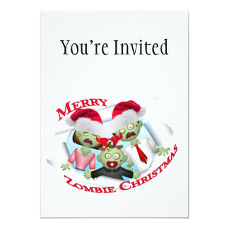 Merry Zombie Family Christmas 5x7 Paper Invitation Card