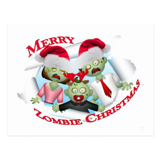 Merry Zombie Family Christmas Postcard