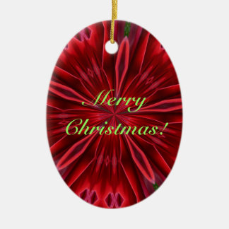 MerryChristmas/Happy New Year-Abstract Red Ceramic Ornament