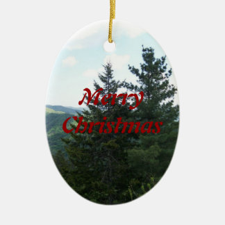 MerryChristmas Trees Double-Sided Oval Ceramic Christmas Ornament