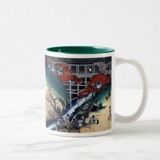 Merrymaking beneath Maple Trees, Hiroshige Two-Tone Coffee Mug
