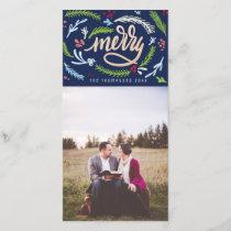 Merryscript Christmas Faux Gold Glitter Photo Card
