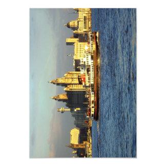 Mersey Ferry & Liverpool Waterfront 13 Cm X 18 Cm Invitation Card