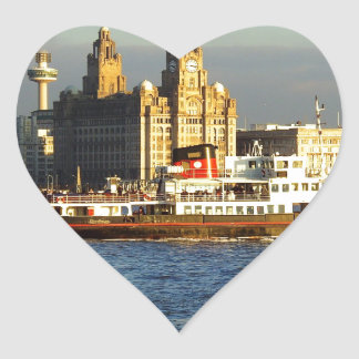 Mersey Ferry & Liverpool Waterfront Heart Stickers