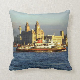 Mersey Ferry & Liverpool Waterfront Throw Pillow