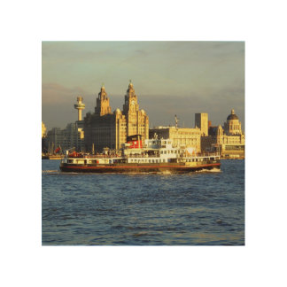 Mersey Ferry & Liverpool Waterfront Wood Print