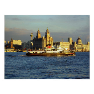 Mersey Ferry with Liverpool Waterfront beyond Poster
