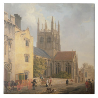 Merton College, Oxford, 1771 (oil on canvas) Large Square Tile