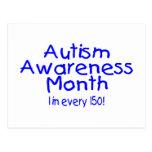 Mes 1 de la conciencia del autismo en 150 (azul) tarjeta postal