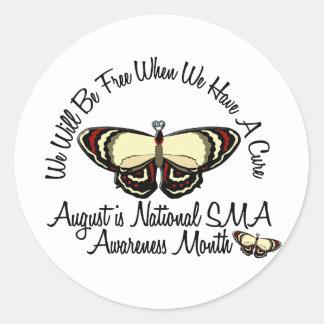 Mes agosto 3,2 de la conciencia de SMA Pegatina Redonda