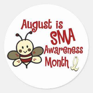 Mes agosto de la conciencia de SMA Pegatina Redonda