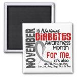 Mes de la conciencia de la diabetes cada mes para  imán cuadrado