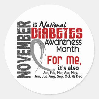 Mes de la conciencia de la diabetes cada mes para  pegatinas redondas
